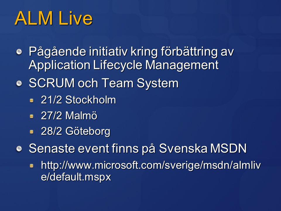 ALM Live Pågående initiativ kring förbättring av Application Lifecycle Management SCRUM och Team System 21/2 Stockholm 27/2 Malmö 28/2 Göteborg Senast