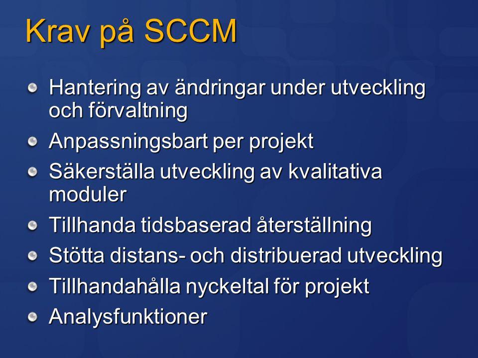 Krav på SCCM Hantering av ändringar under utveckling och förvaltning Anpassningsbart per projekt Säkerställa utveckling av kvalitativa moduler Tillhan
