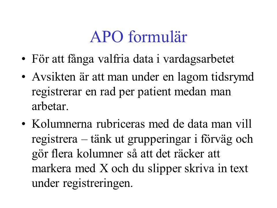APO formulär För att fånga valfria data i vardagsarbetet Avsikten är att man under en lagom tidsrymd registrerar en rad per patient medan man arbetar.