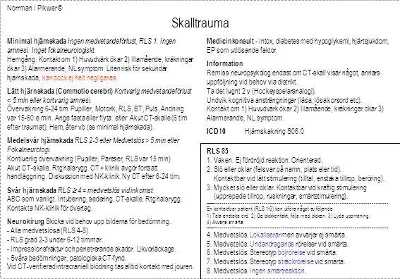 Norrman / Pikwer © Skalltrauma Minimal hjärnskada Ingen medvetandeförlust, RLS 1. Ingen amnesi. Inget fokalneurologiskt. Hemgång. Kontakt om 1) Huvudv