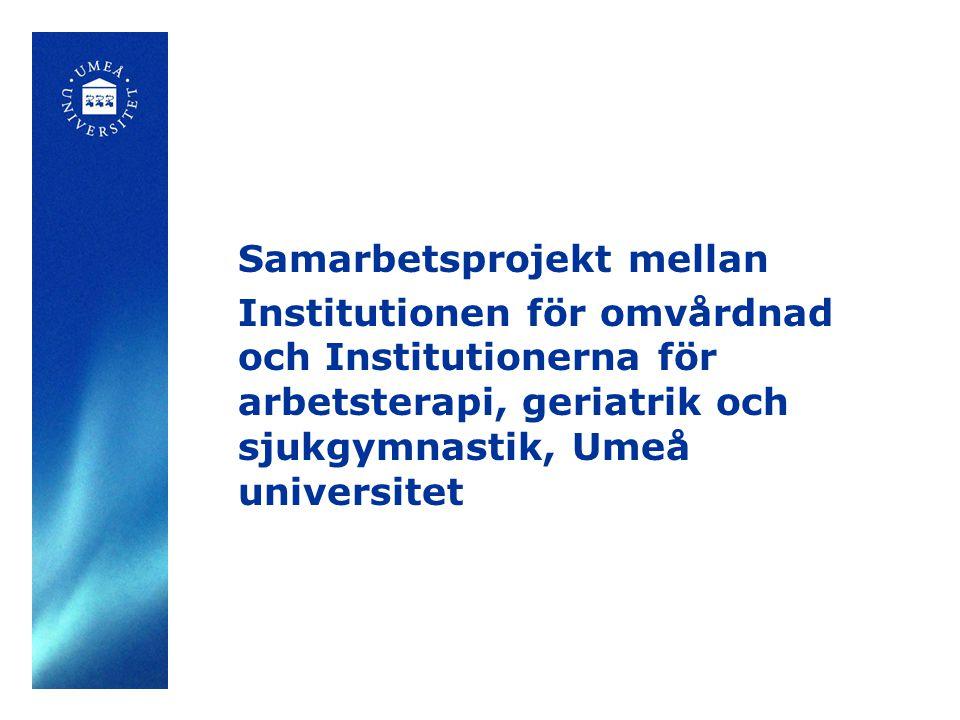 Deltagare Varannan person 85 år, alla 90 år och 95 år och äldre Boende i Umeå stad eller i 5 inlandskommuner (Dorotea, Malå, Sorsele, Storuman, Vilhelmina) Antalet deltagare varierar i olika delstudier och vid olika tidpunkter