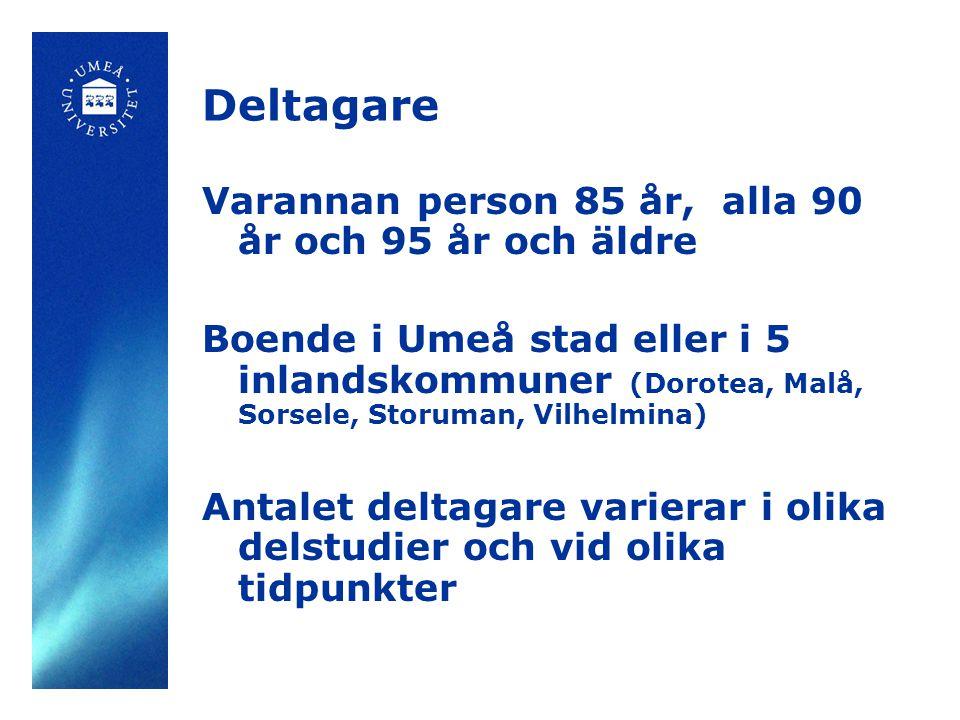 Deltagare Varannan person 85 år, alla 90 år och 95 år och äldre Boende i Umeå stad eller i 5 inlandskommuner (Dorotea, Malå, Sorsele, Storuman, Vilhel