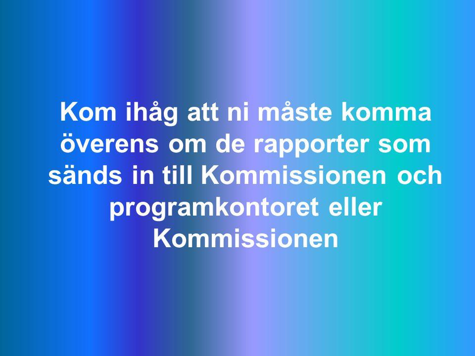 Kom ihåg att ni måste komma överens om de rapporter som sänds in till Kommissionen och programkontoret eller Kommissionen