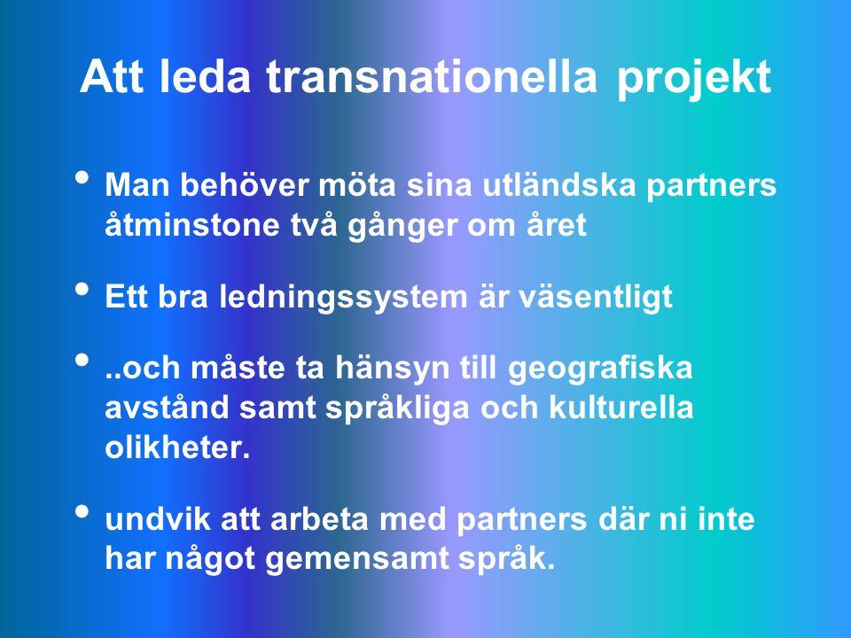 Att leda transnationella projekt Man behöver möta sina utländska partners åtminstone två gånger om året Ett bra ledningssystem är väsentligt..och måste ta hänsyn till geografiska avstånd samt språkliga och kulturella olikheter.