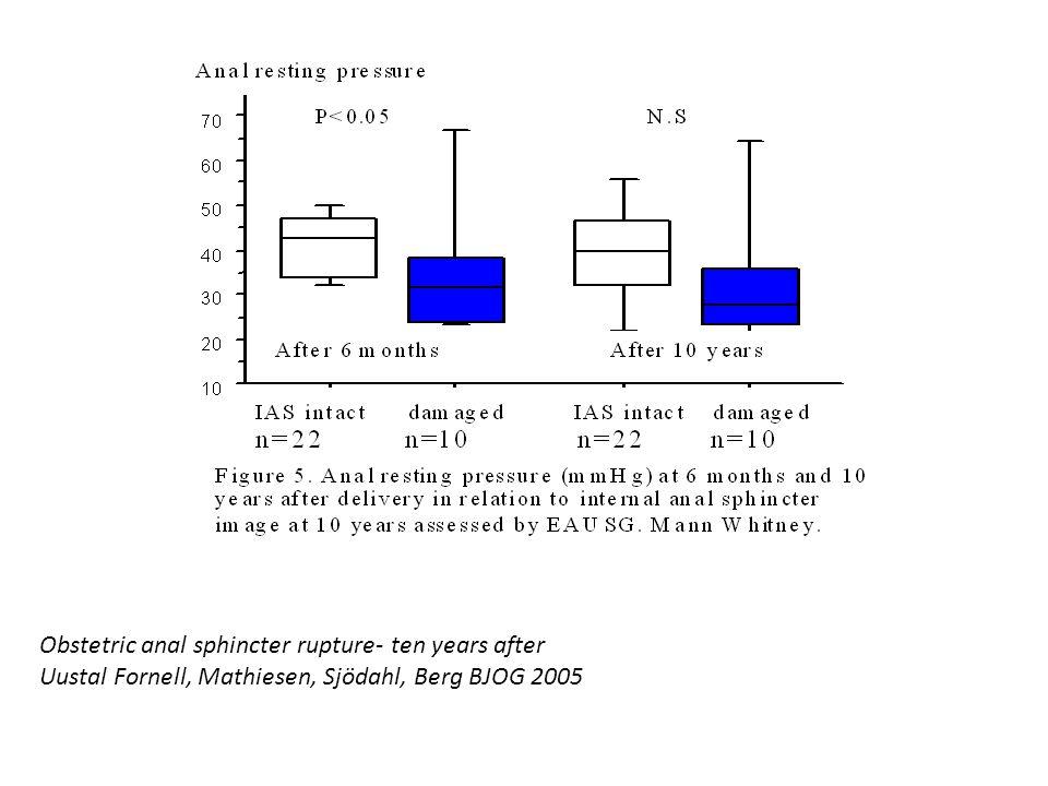Obstetric anal sphincter rupture- ten years after Uustal Fornell, Mathiesen, Sjödahl, Berg BJOG 2005