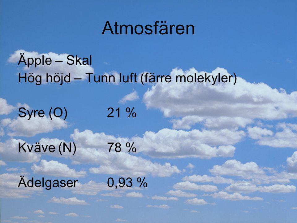 Atmosfären Äpple – Skal Hög höjd – Tunn luft (färre molekyler) Syre (O)21 % Kväve (N)78 % Ädelgaser0,93 %