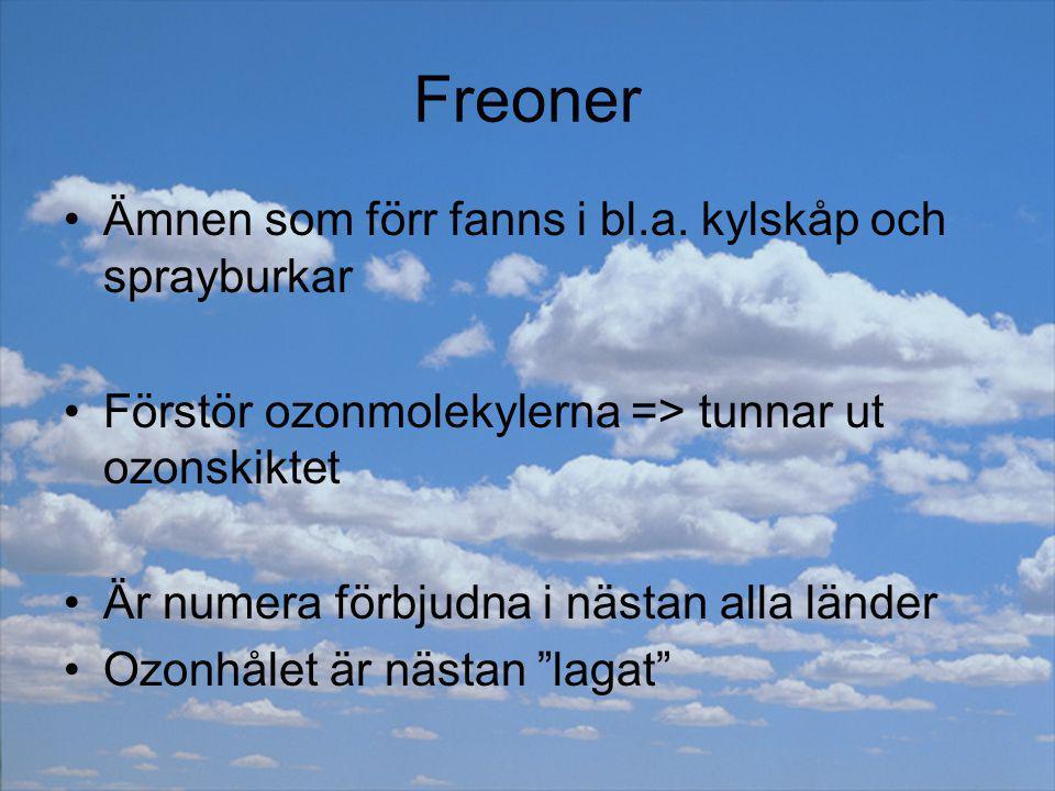 Freoner Ämnen som förr fanns i bl.a. kylskåp och sprayburkar Förstör ozonmolekylerna => tunnar ut ozonskiktet Är numera förbjudna i nästan alla länder