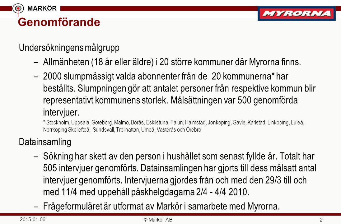MARKÖR 2015-01-06 © Markör AB 2 Genomförande Undersökningens målgrupp –Allmänheten (18 år eller äldre) i 20 större kommuner där Myrorna finns. –2000 s