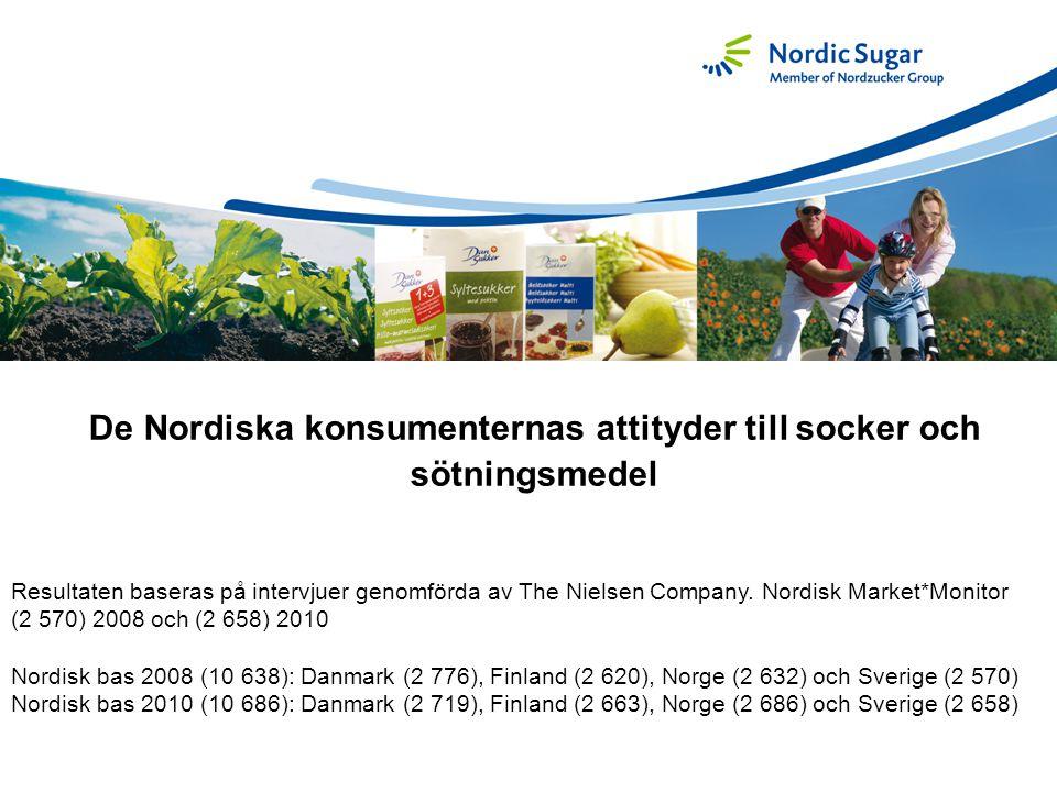 De Nordiska konsumenternas attityder till socker och sötningsmedel Resultaten baseras på intervjuer genomförda av The Nielsen Company. Nordisk Market*