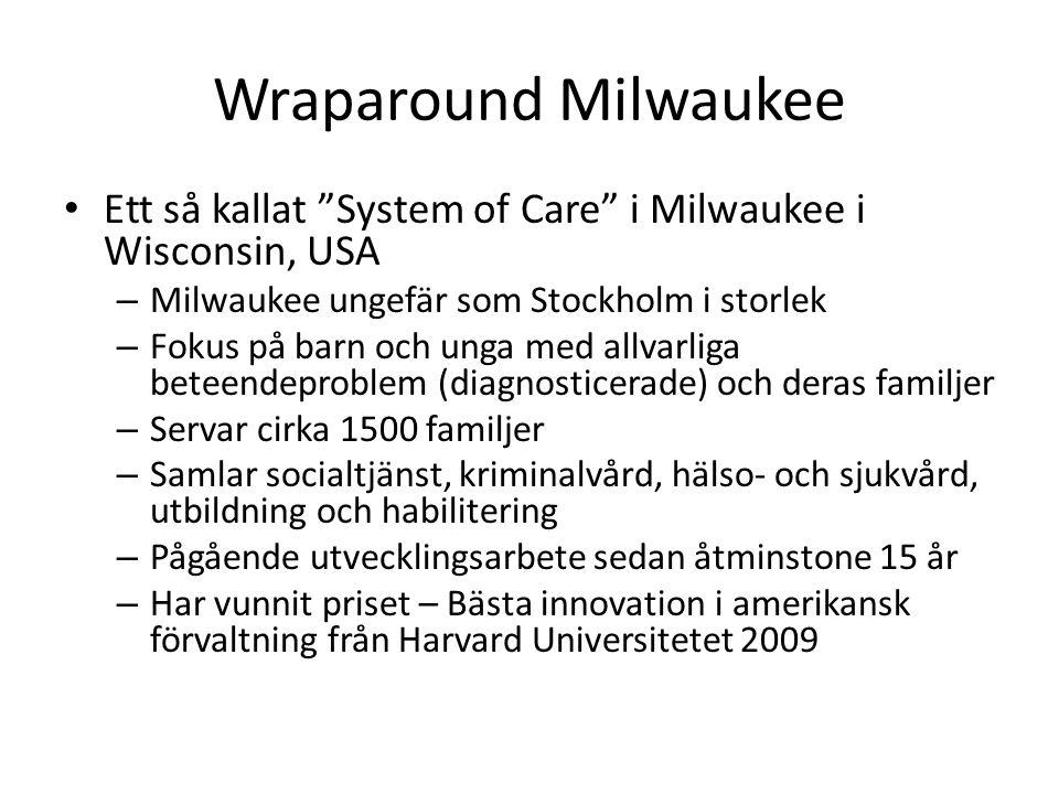 Wraparound Milwaukee Ett så kallat System of Care i Milwaukee i Wisconsin, USA – Milwaukee ungefär som Stockholm i storlek – Fokus på barn och unga med allvarliga beteendeproblem (diagnosticerade) och deras familjer – Servar cirka 1500 familjer – Samlar socialtjänst, kriminalvård, hälso- och sjukvård, utbildning och habilitering – Pågående utvecklingsarbete sedan åtminstone 15 år – Har vunnit priset – Bästa innovation i amerikansk förvaltning från Harvard Universitetet 2009