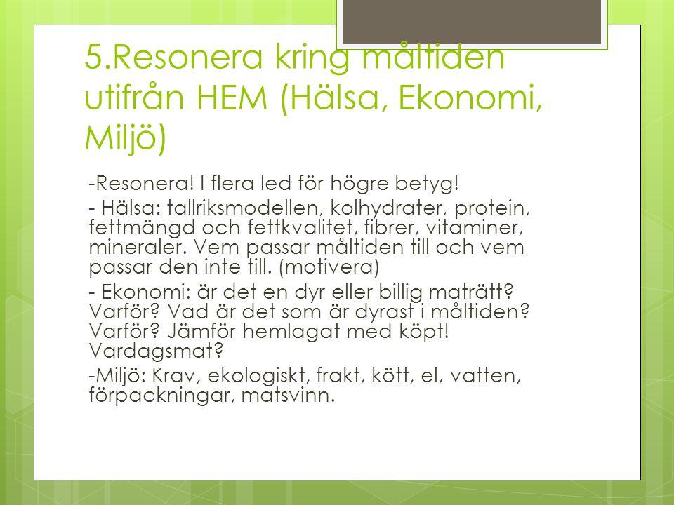 5.Resonera kring måltiden utifrån HEM (Hälsa, Ekonomi, Miljö) -Resonera! I flera led för högre betyg! - Hälsa: tallriksmodellen, kolhydrater, protein,