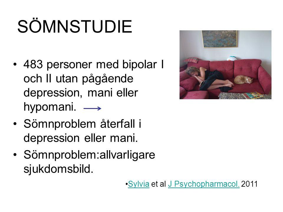 SÖMNSTUDIE 483 personer med bipolar I och II utan pågående depression, mani eller hypomani.