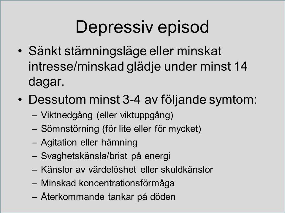 Depressiv episod Sänkt stämningsläge eller minskat intresse/minskad glädje under minst 14 dagar.