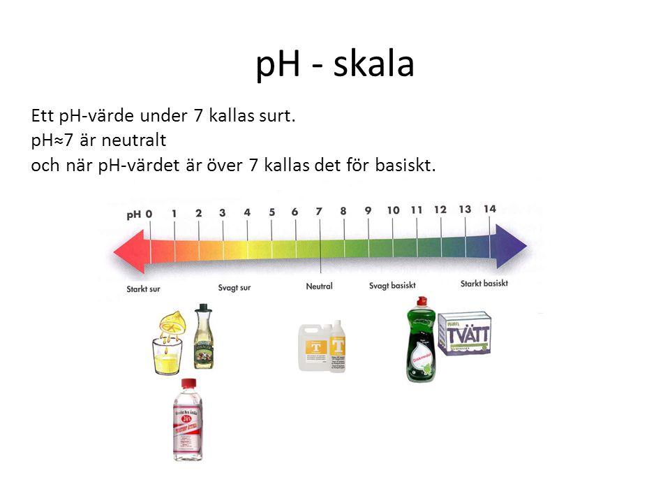 pH - skala Ett pH-värde under 7 kallas surt. pH≈7 är neutralt och när pH-värdet är över 7 kallas det för basiskt.