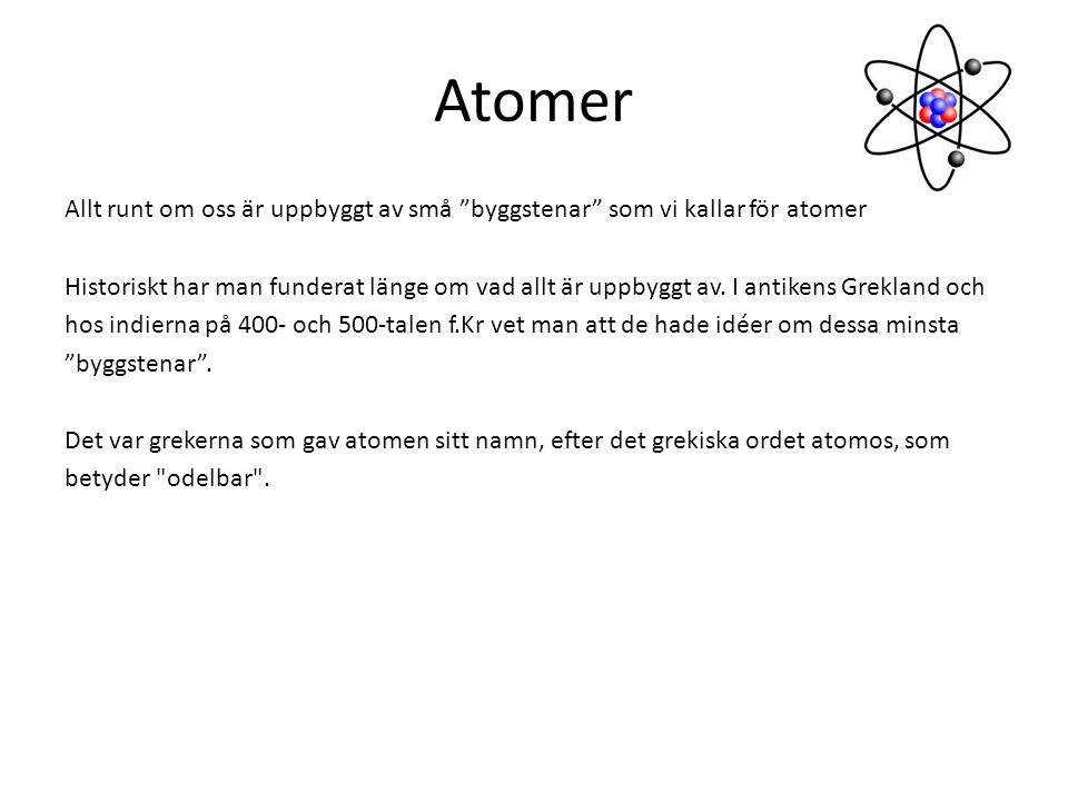 """Atomer Allt runt om oss är uppbyggt av små """"byggstenar"""" som vi kallar för atomer Historiskt har man funderat länge om vad allt är uppbyggt av. I antik"""
