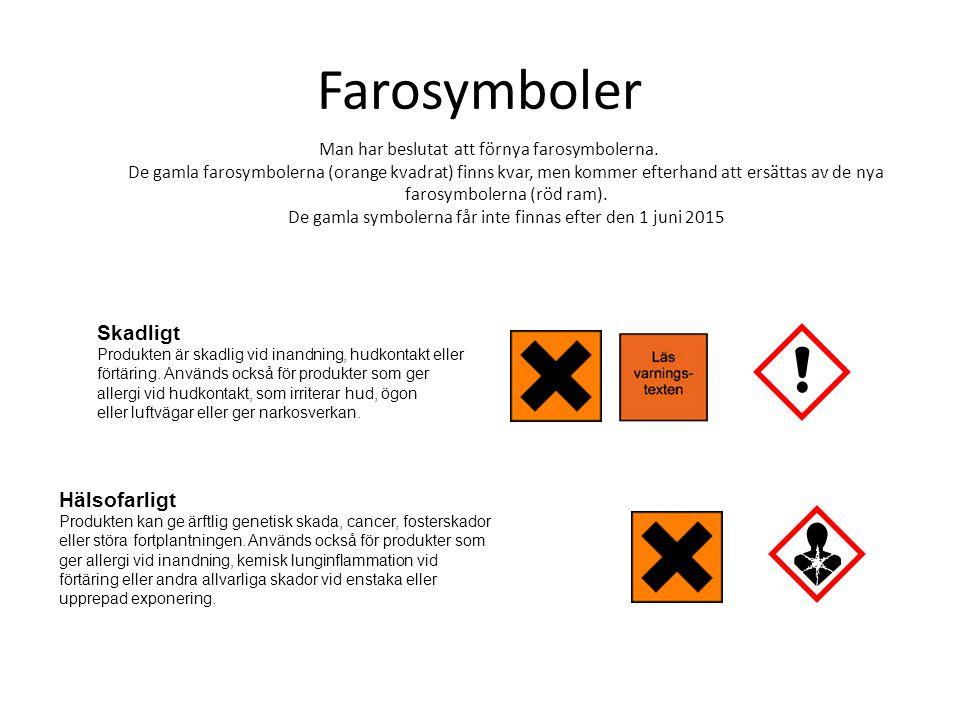 Farosymboler Man har beslutat att förnya farosymbolerna. De gamla farosymbolerna (orange kvadrat) finns kvar, men kommer efterhand att ersättas av de