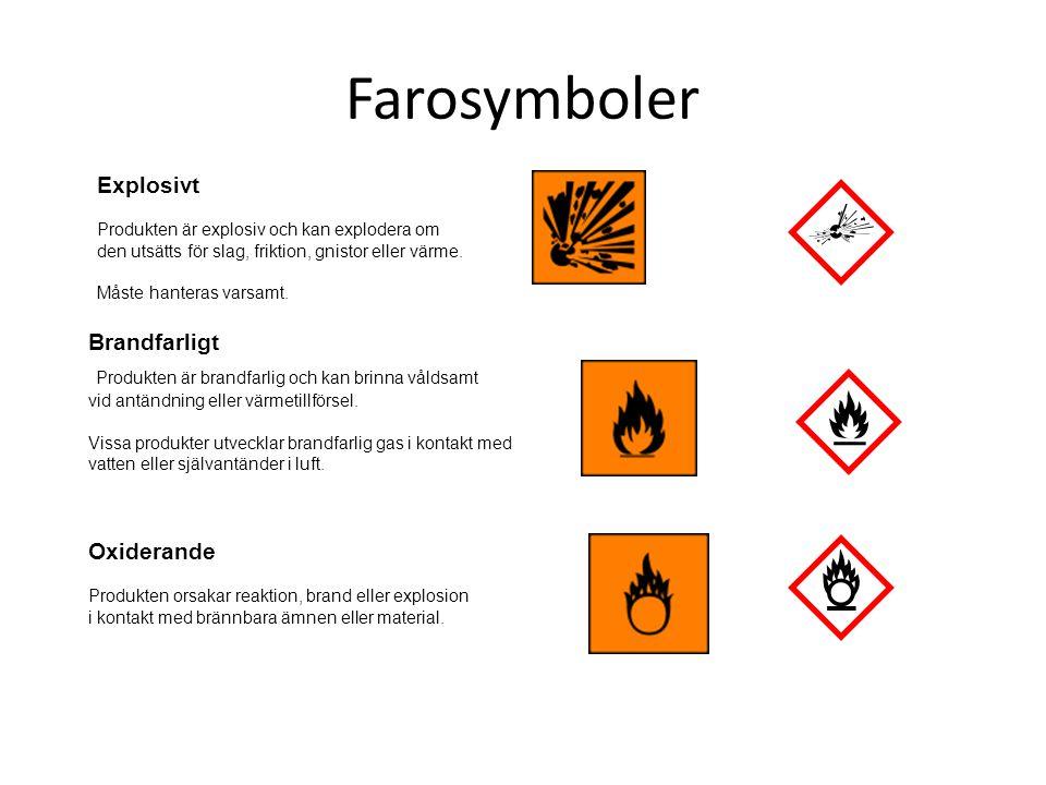 Farosymboler Explosivt Produkten är explosiv och kan explodera om den utsätts för slag, friktion, gnistor eller värme. Måste hanteras varsamt. Brandfa
