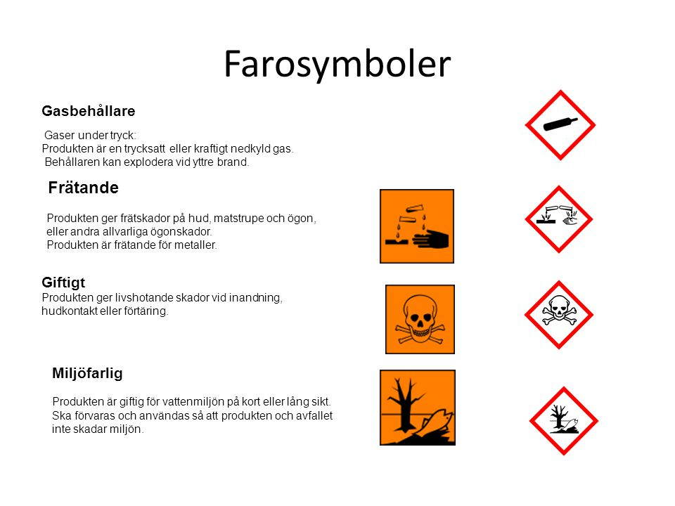 Farosymboler Gasbehållare Gaser under tryck: Produkten är en trycksatt eller kraftigt nedkyld gas. Behållaren kan explodera vid yttre brand. Frätande