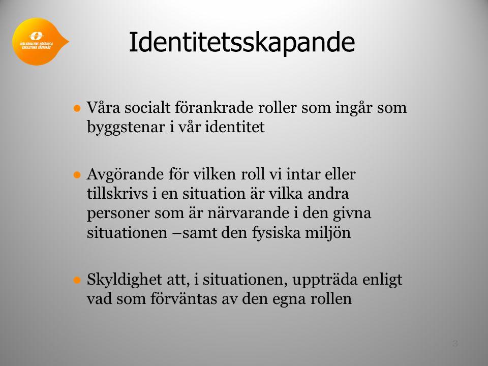Identitetsskapande ●Våra socialt förankrade roller som ingår som byggstenar i vår identitet ●Avgörande för vilken roll vi intar eller tillskrivs i en