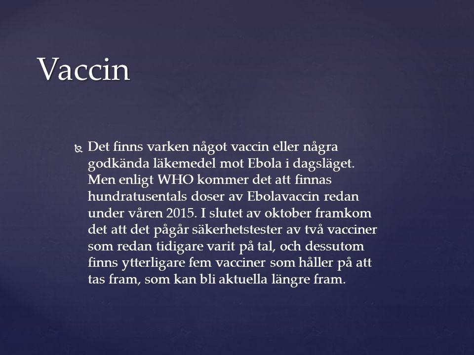   Det finns varken något vaccin eller några godkända läkemedel mot Ebola i dagsläget. Men enligt WHO kommer det att finnas hundratusentals doser av