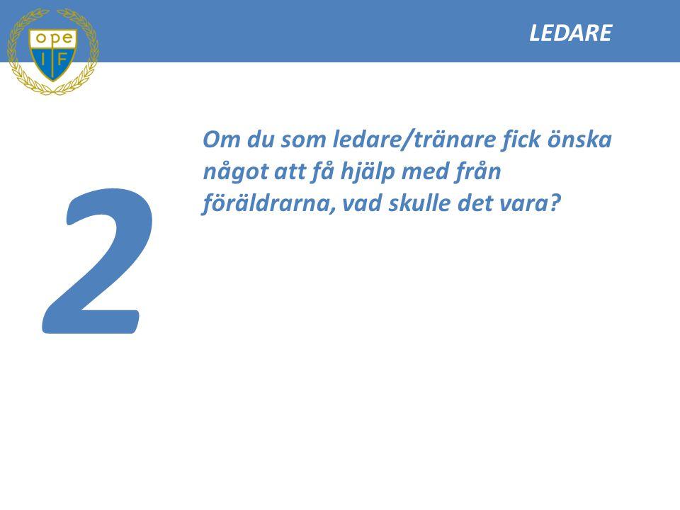 LEDARE 2 Om du som ledare/tränare fick önska något att få hjälp med från föräldrarna, vad skulle det vara?