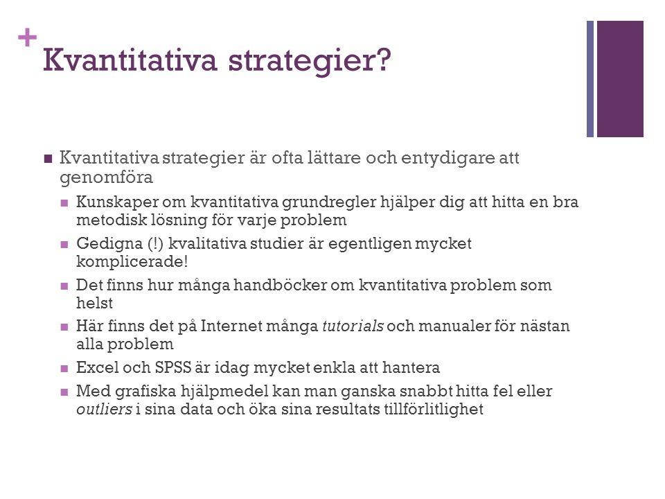 + Kvantitativa strategier? Kvantitativa strategier är ofta lättare och entydigare att genomföra Kunskaper om kvantitativa grundregler hjälper dig att