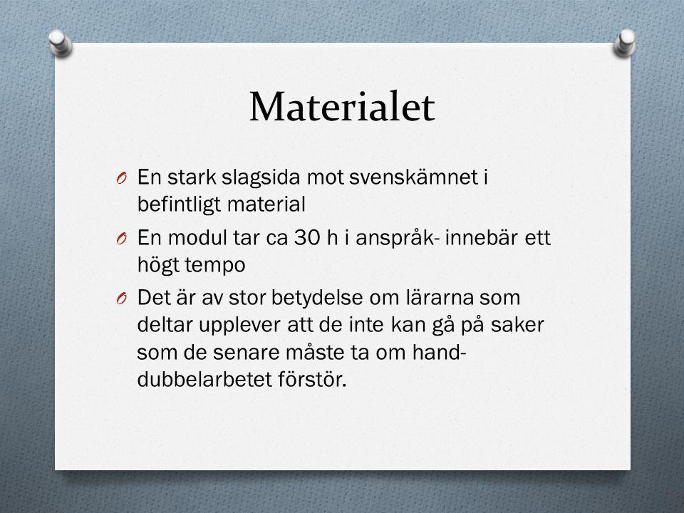Materialet O En stark slagsida mot svenskämnet i befintligt material O En modul tar ca 30 h i anspråk- innebär ett högt tempo O Det är av stor betydel