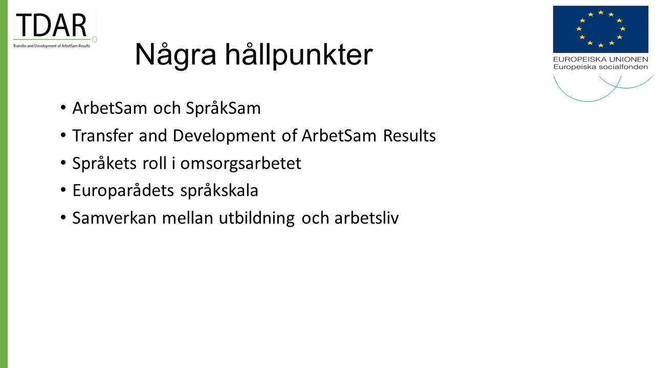 Förutsättningar i Storstockholms äldreomsorg 2009 Stor andel saknar grundutbildning Majoriteten av de anställda har annat modersmål än svenska Majoritet av de äldre/brukarna har svenska som modersmål Kraven på kommunikation och dokumentation i omsorgen ökar Man upplever brister i kommunikationen på arbetsplatserna