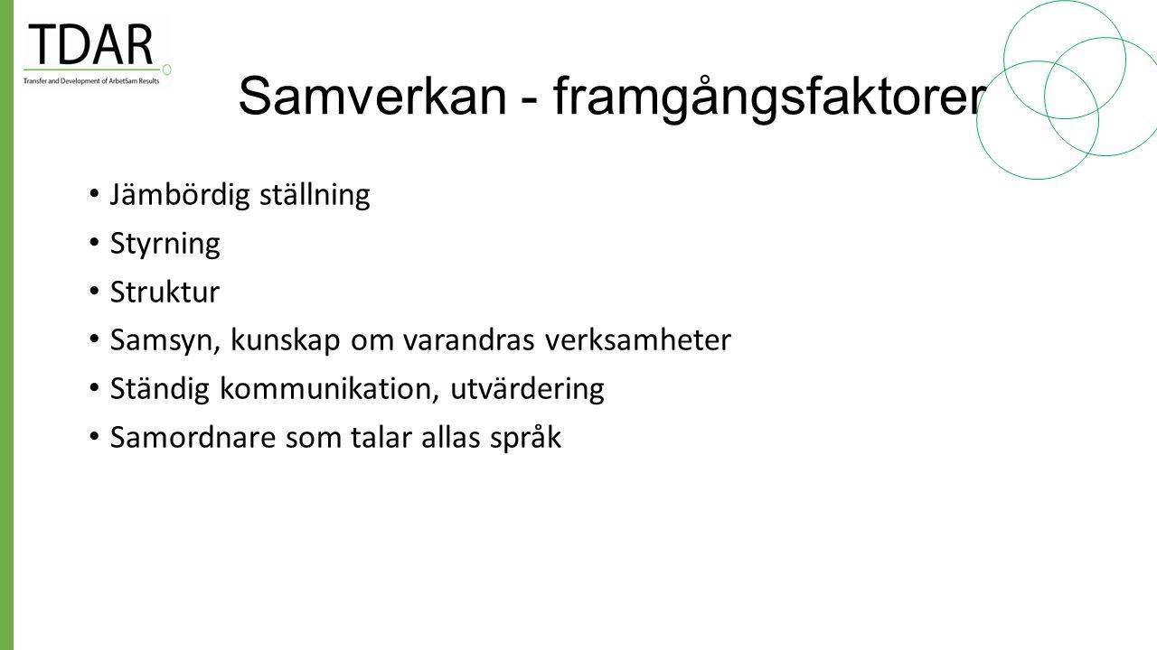 Samverkan i ESF-projekt Samverkan som strategi för hållbara effekter: Sävenstrand, Ehneström, SPeL-rapport nr 7 2013