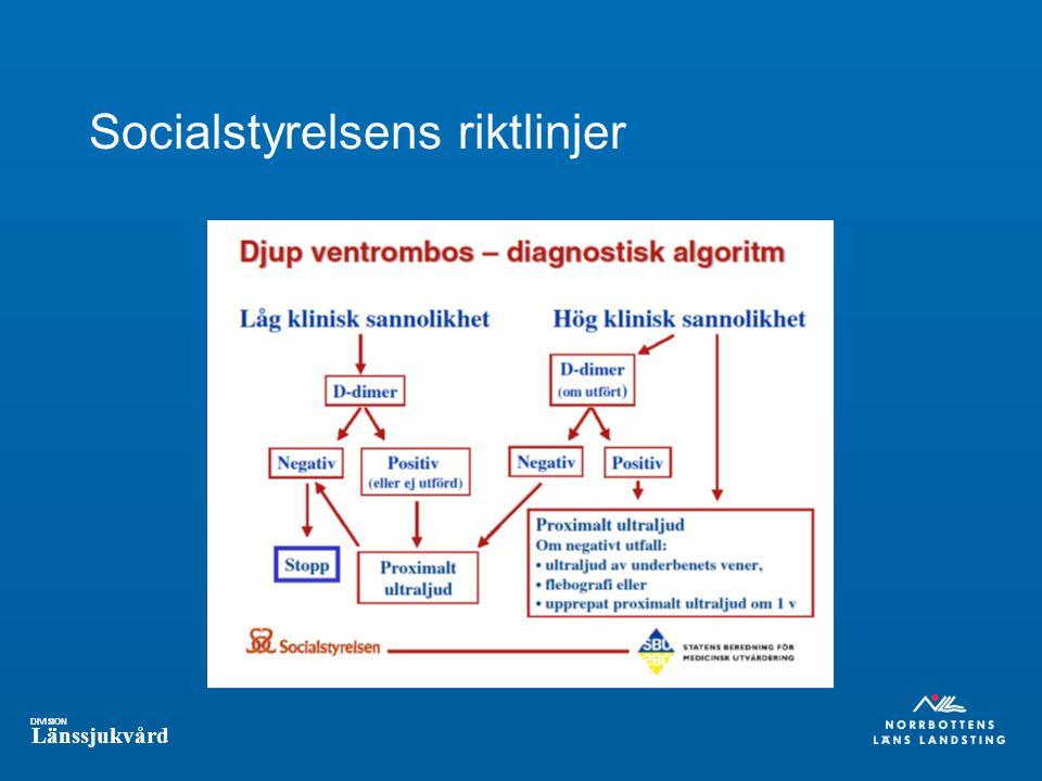 DIVISION Länssjukvård Socialstyrelsens riktlinjer