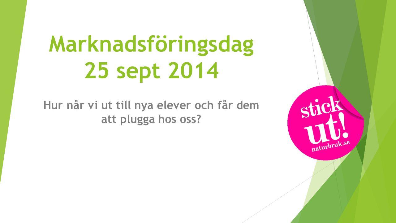 Marknadsföringsdag 25 sept 2014 Hur når vi ut till nya elever och får dem att plugga hos oss