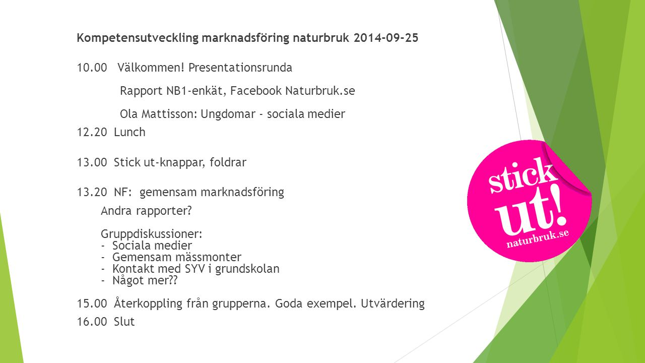 Gruppdiskussioner - Sociala medier - Gemensam mässmonter - Kontakt med SYV i grundskolan - Något mer??