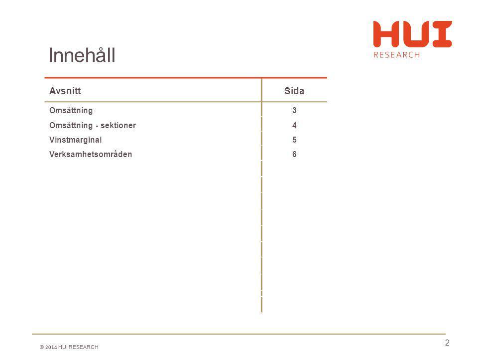 2 AvsnittSida Omsättning3 Omsättning - sektioner4 Vinstmarginal5 Verksamhetsområden6 Innehåll © 2014 HUI RESEARCH
