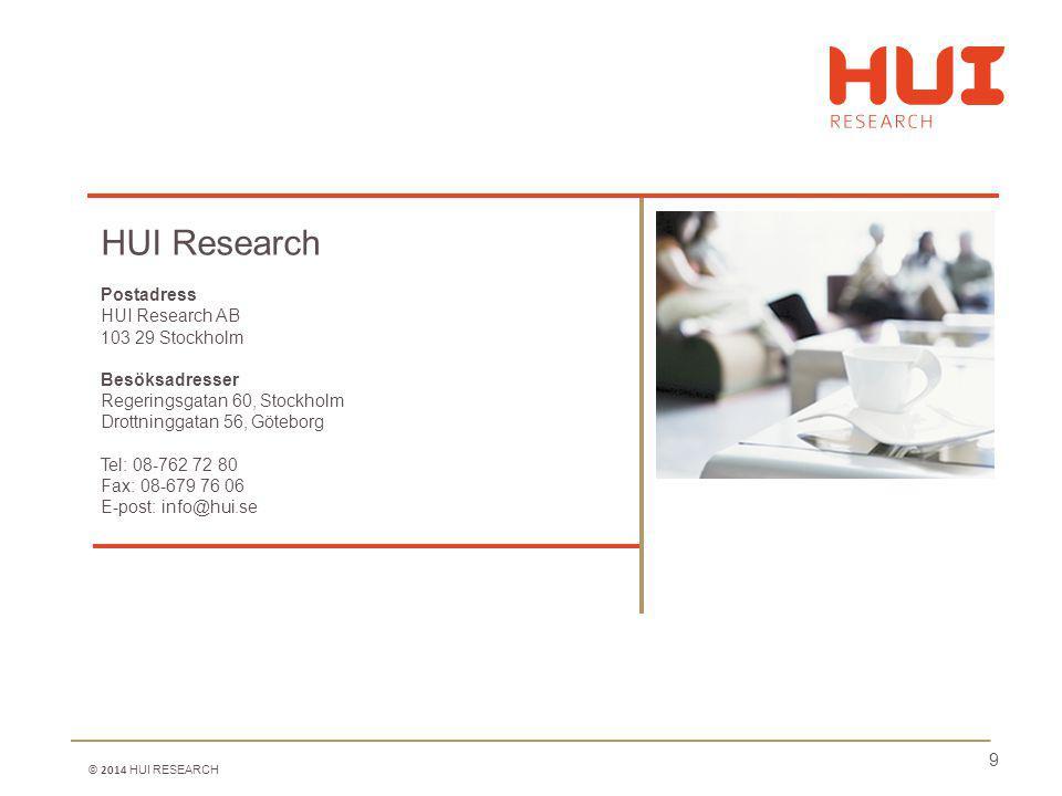 9 HUI Research Postadress HUI Research AB 103 29 Stockholm Besöksadresser Regeringsgatan 60, Stockholm Drottninggatan 56, Göteborg Tel: 08-762 72 80 Fax: 08-679 76 06 E-post: info@hui.se © 2014 HUI RESEARCH