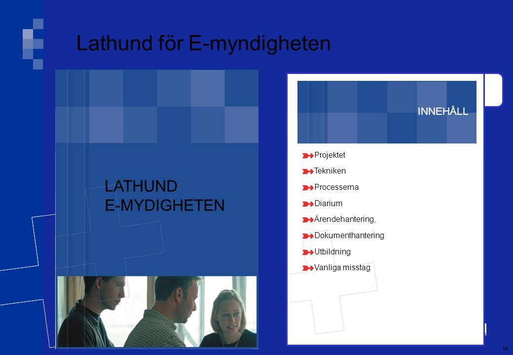 10 INNEHÅLL Projektet Tekniken Processerna Diarium Ärendehantering, Dokumenthantering Utbildning Vanliga misstag Lathund för E-myndigheten LATHUND E-MYDIGHETEN