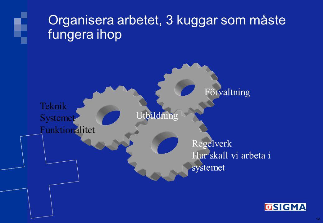 12 Organisera arbetet, 3 kuggar som måste fungera ihop Teknik Systemet Funktionalitet Förvaltning Regelverk Hur skall vi arbeta i systemet Utbildning