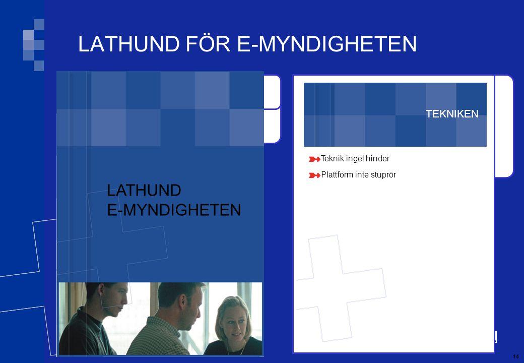 14 TEKNIKEN Teknik inget hinder Plattform inte stuprör LATHUND FÖR E-MYNDIGHETEN LATHUND E-MYNDIGHETEN