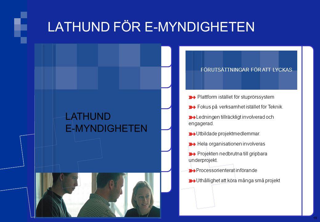 19 FÖRUTSÄTTNINGAR FÖR ATT LYCKAS Plattform istället för stuprörssystem Fokus på verksamhet istället för Teknik.