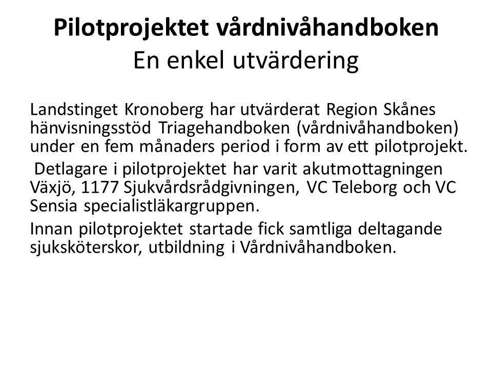 Pilotprojektet vårdnivåhandboken En enkel utvärdering Landstinget Kronoberg har utvärderat Region Skånes hänvisningsstöd Triagehandboken (vårdnivåhand