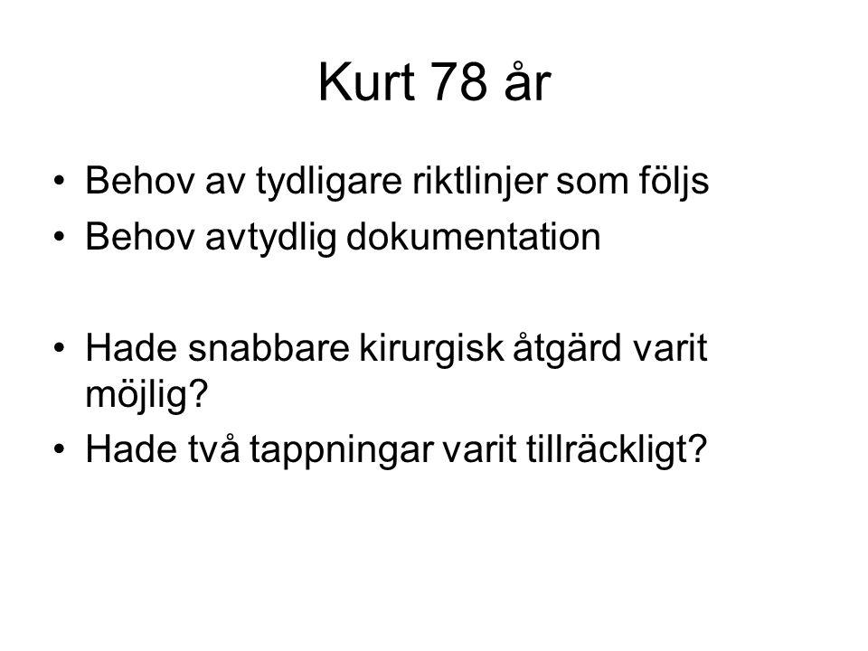 Kurt 78 år Behov av tydligare riktlinjer som följs Behov avtydlig dokumentation Hade snabbare kirurgisk åtgärd varit möjlig.