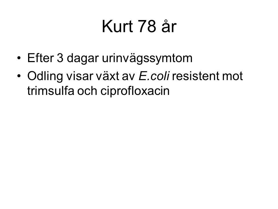 Kurt 78 år Efter 3 dagar urinvägssymtom Odling visar växt av E.coli resistent mot trimsulfa och ciprofloxacin