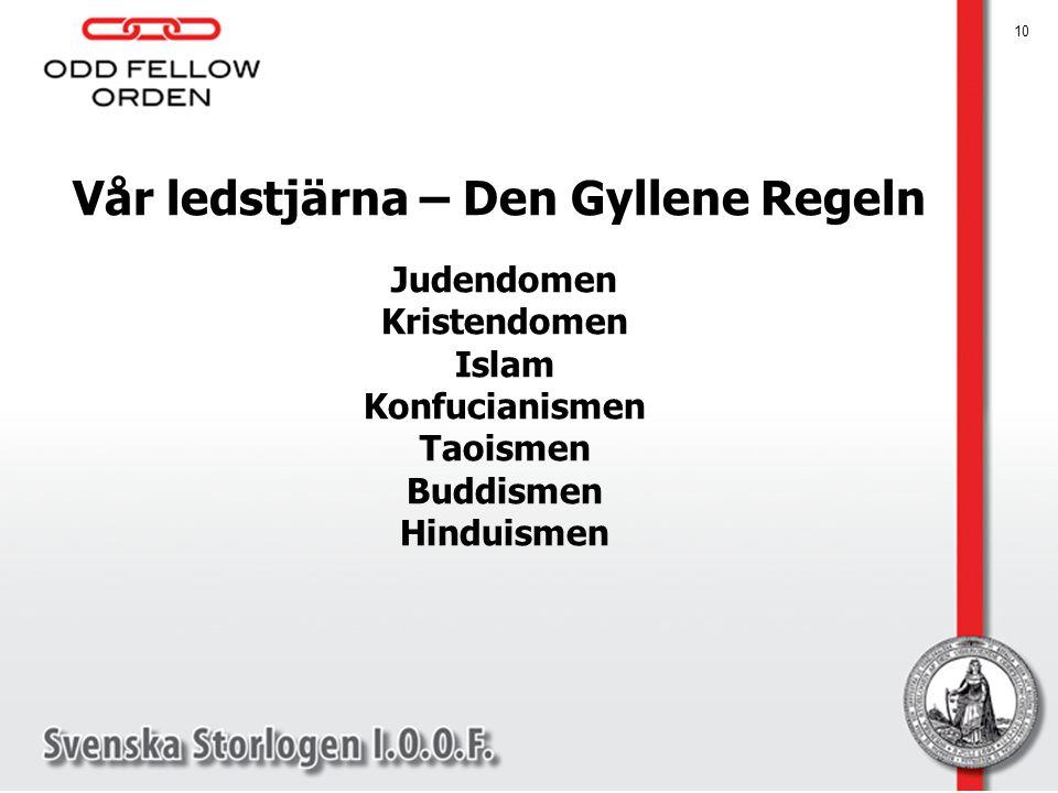 10 Vår ledstjärna – Den Gyllene Regeln Judendomen Kristendomen Islam Konfucianismen Taoismen Buddismen Hinduismen