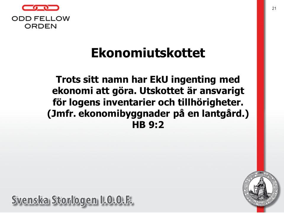 Ekonomiutskottet Trots sitt namn har EkU ingenting med ekonomi att göra. Utskottet är ansvarigt för logens inventarier och tillhörigheter. (Jmfr. ekon