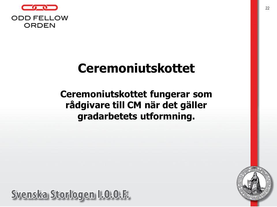Ceremoniutskottet Ceremoniutskottet fungerar som rådgivare till CM när det gäller gradarbetets utformning. 22