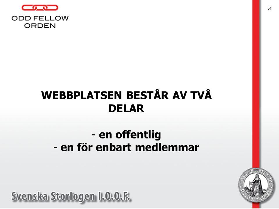 WEBBPLATSEN BESTÅR AV TVÅ DELAR - en offentlig - en för enbart medlemmar 34