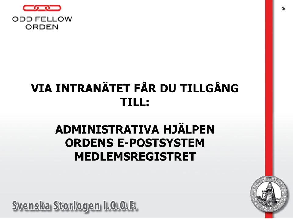 VIA INTRANÄTET FÅR DU TILLGÅNG TILL: ADMINISTRATIVA HJÄLPEN ORDENS E-POSTSYSTEM MEDLEMSREGISTRET 35