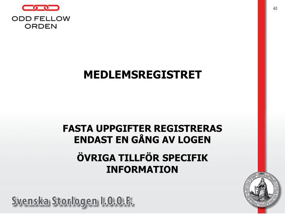 MEDLEMSREGISTRET FASTA UPPGIFTER REGISTRERAS ENDAST EN GÅNG AV LOGEN ÖVRIGA TILLFÖR SPECIFIK INFORMATION 40