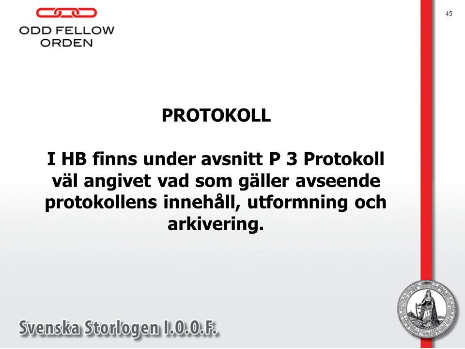 45 PROTOKOLL I HB finns under avsnitt P 3 Protokoll väl angivet vad som gäller avseende protokollens innehåll, utformning och arkivering.
