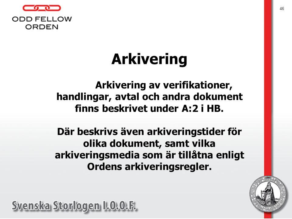 Arkivering Arkivering av verifikationer, handlingar, avtal och andra dokument finns beskrivet under A:2 i HB. Där beskrivs även arkiveringstider för o