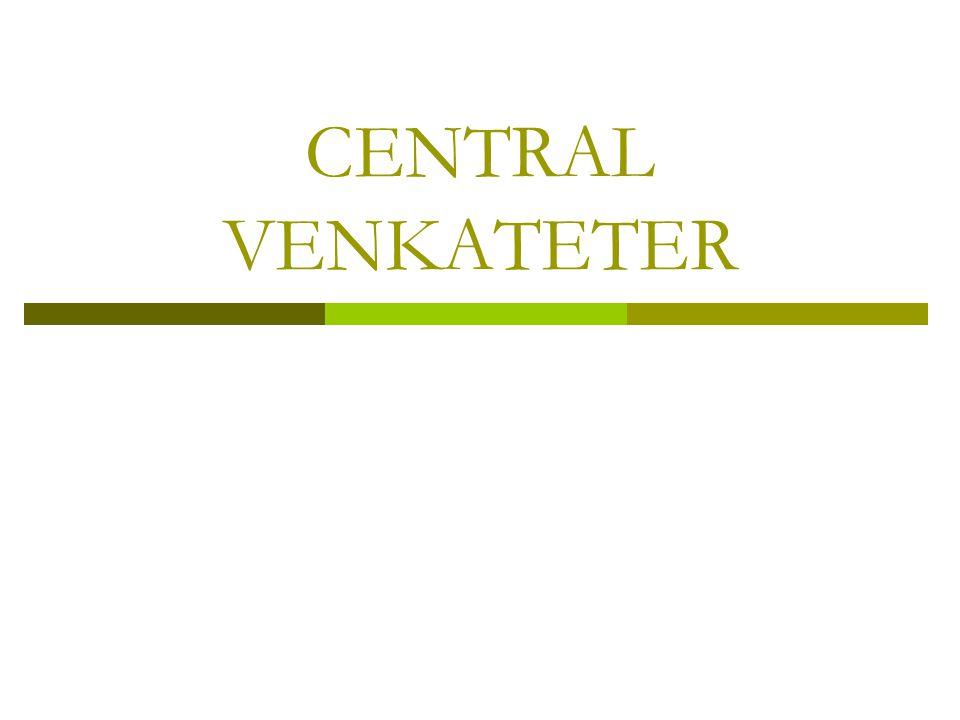 2015-01-09Centrala infarter Linda Jakobsson2 Central venkateter anläggs hos patienter som är:  I behov av intravenös tillförsel under längre tid  I behov av att få kärlretande läkemedel eller stora vätskemängder  Svårstuckna  I behov av mätning av centrala ventryck  Hemodialys